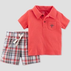 3/$25 Carter's Polo & Shorts Outfit Set